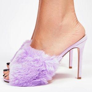 Dolls kill shellie fluffy heels (purple)